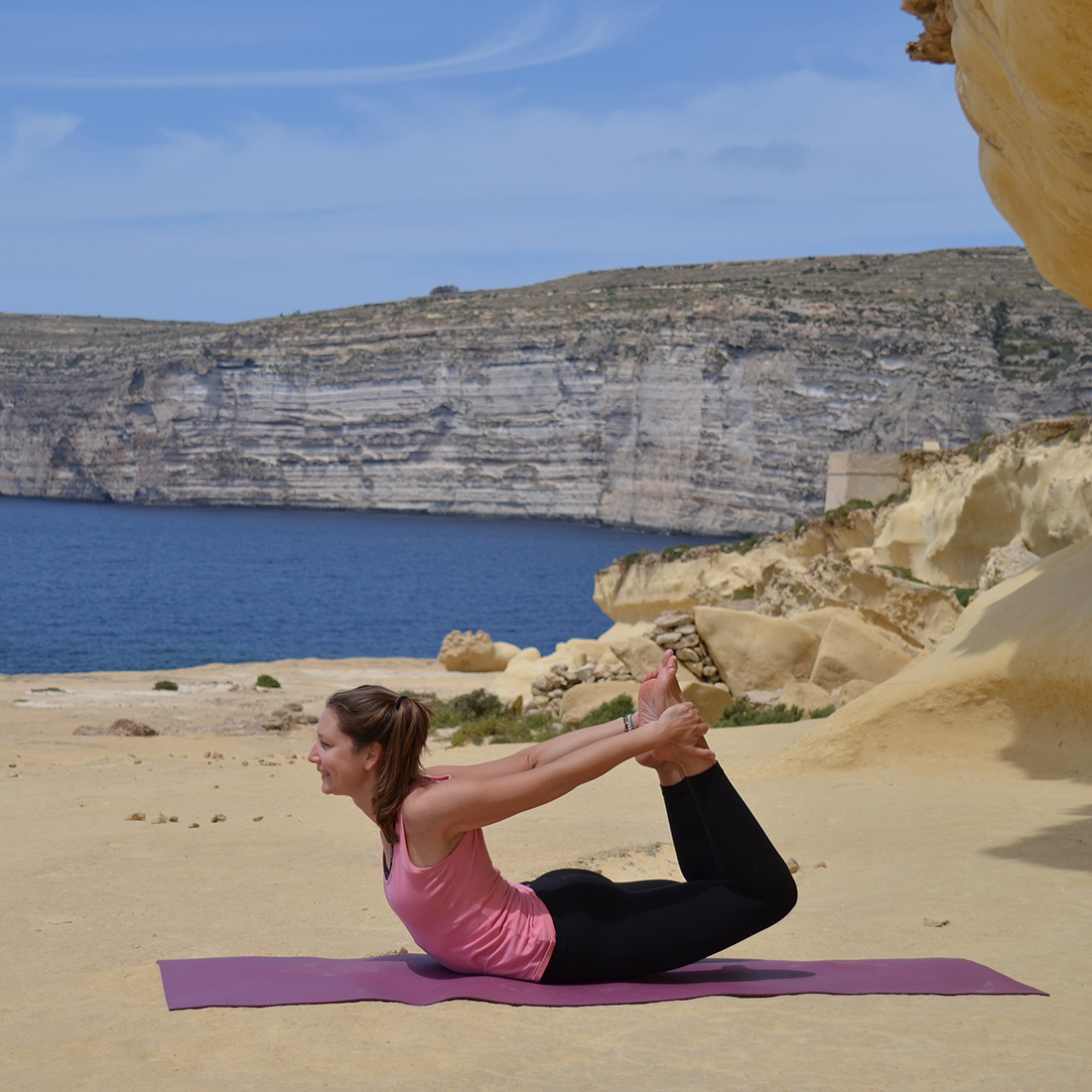 gozo xlendi yoga cliffs sea sun summer views joy morning sunset mindful stretch relax nidra indoor Victoria private group classes pranayama breathing meditation island fresh air move body Dwejra Qbajjar tower Xwejni salt pans Ramla beach breathtaking hidden spots heart mind mat love